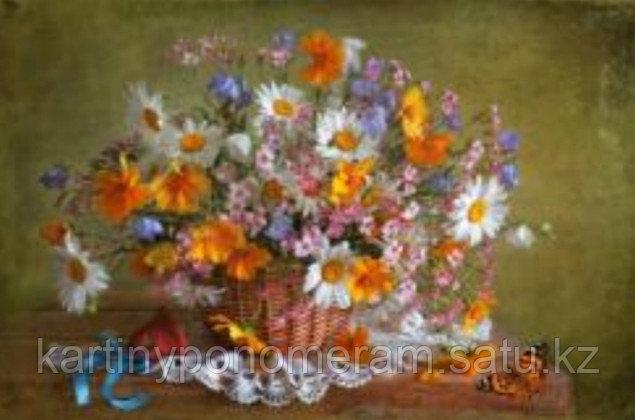 """Картина по номерам """"Корзина с полевыми цветами"""""""