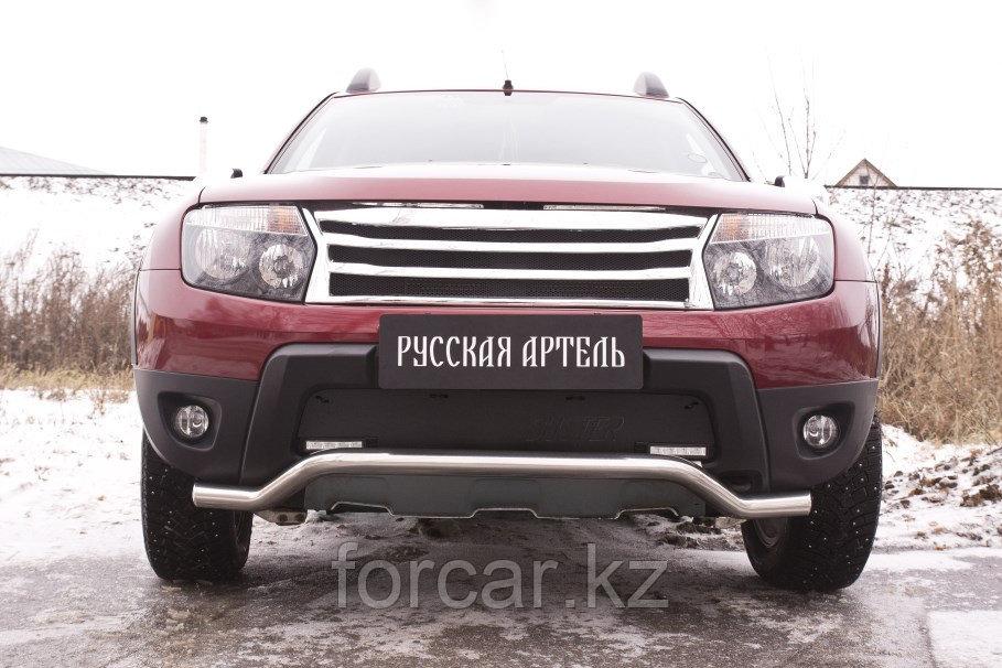 Зимняя заглушка решетки переднего бампера («дхо»+обвес) Renault Duster 2010-