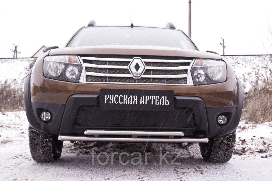 Зимняя заглушка решетки переднего бампера (без «дхо» и обвеса) Renault Duster 2010-