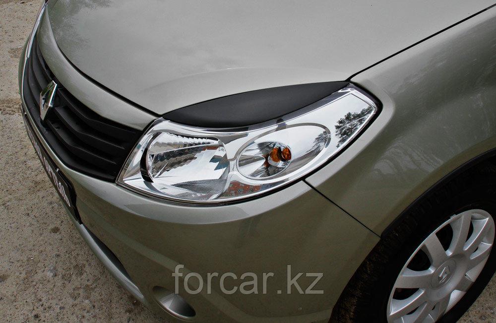 Накладки на передние фары (Реснички) Renault Sandero 2009-2013