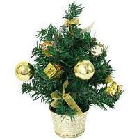 Веселый хоровод Ель декоративная, с золотыми украшениями, 30 см.