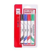 Deli Набор маркеров для доски DELI, 4 цв, 2мм, круглый наконечник.