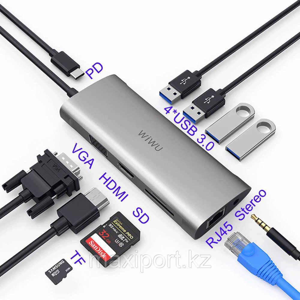 USB Адаптер  Wiwu  Alpha 11-in-1 Usb-C расширитель портов для макбука