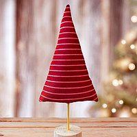 """Новогодняя мягкая игрушка, Набор для создания фигурки из ткани """"Елочка в полоску"""", цвет красный"""