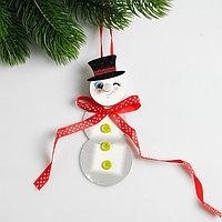 Набор для создания новогодней подвески со светом «Снеговик с бантиком»