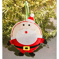 Набор для создания подвесной ёлочной игрушки из фетра «Шар - Дед Мороз»