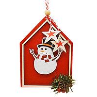 Набор для творчества - создай ёлочное украшение «Снеговик в красном домике»