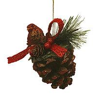 Набор для творчества - создай ёлочное украшение «Шишка с птичкой»