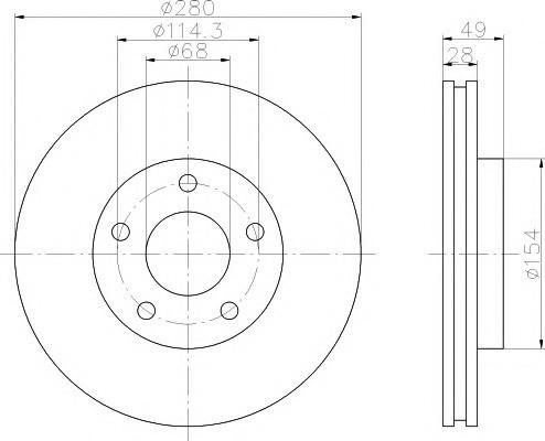 Тормозные диски  Nissan Maxima  A33 (00-03, передние, Japanparts, D280)