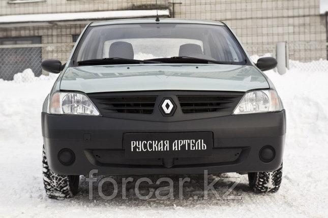 Зимняя заглушка решетки переднего бампера Renault Logan 2004-2010, фото 2