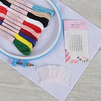 Набор для вышивания крестиком: канва без рисунка 30×20 см, нитки 10 шт, пяльцы d18 см, иглы 6 шт, шпульки 10 шт