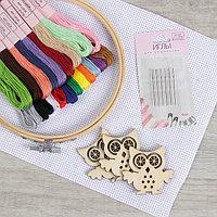 Набор для вышивания крестиком: канва без рисунка 30×20 см, нитки 20 шт, пяльцы d15 см, иглы 6 шт, шпульки 3 шт