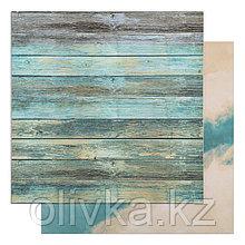 """Фотофон двусторонний """"Синие доски - Синий"""" 45 х 45 см, переплётный картон, 980 г/м"""