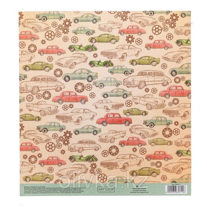 Бумага для скрапбукинга с клеевым слоем «Рэтро», 20 × 21,5 см, 250 г/м