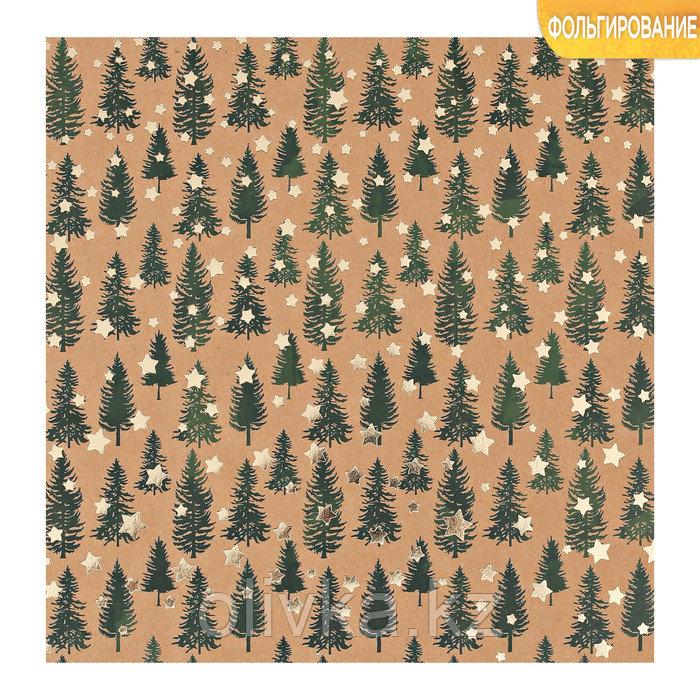 Бумага для скрапбукинга крафтовая с фольгированием «Сказочный лес», 20 × 20 см, 250 г/кв. м