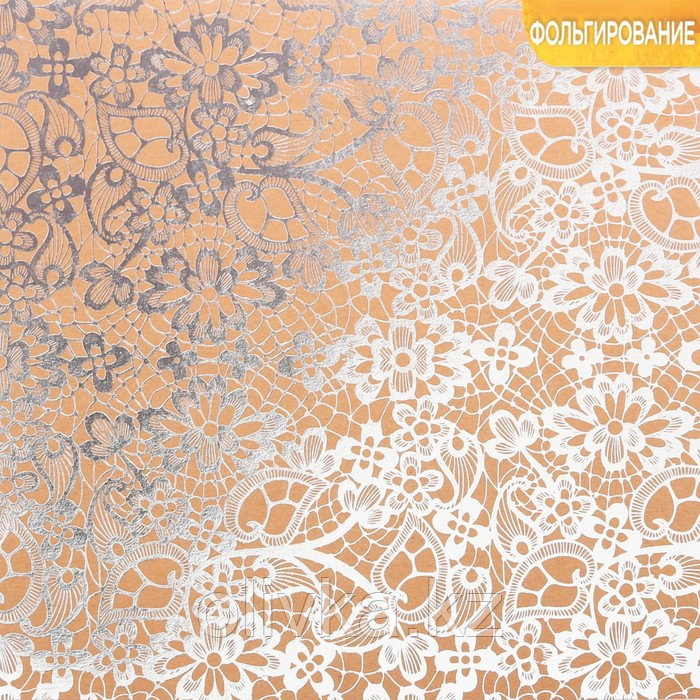 Бумага крафтовая для скрапбукинга с фольгированием «Любовь», 20 × 20 см, 300 г/м