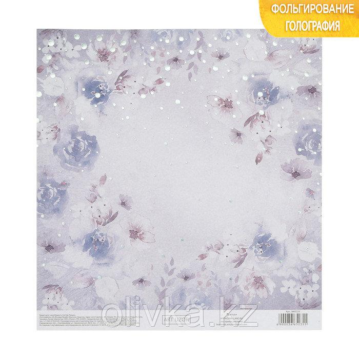 Бумага для скрапбукинга с голографическим фольгированием «Море цветов», 20 × 21.5 см, 250 г/м