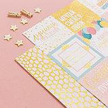 Бумага для скрапбукинга с блёстками «Золотые лучики», 30,5 х 30,5 см, 180 г/м, фото 3