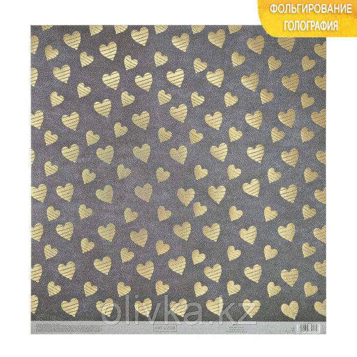 Бумага для скрапбукинга с голографическим фольгированием «Сердечки», 30.5 × 32 см, 250 г/м