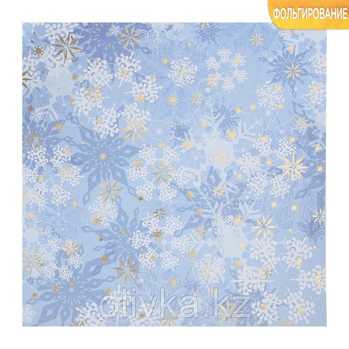 Бумага для скрапбукинга с фольгированием «Морозные узоры», 30.5 × 30.5 см, 250 г/м