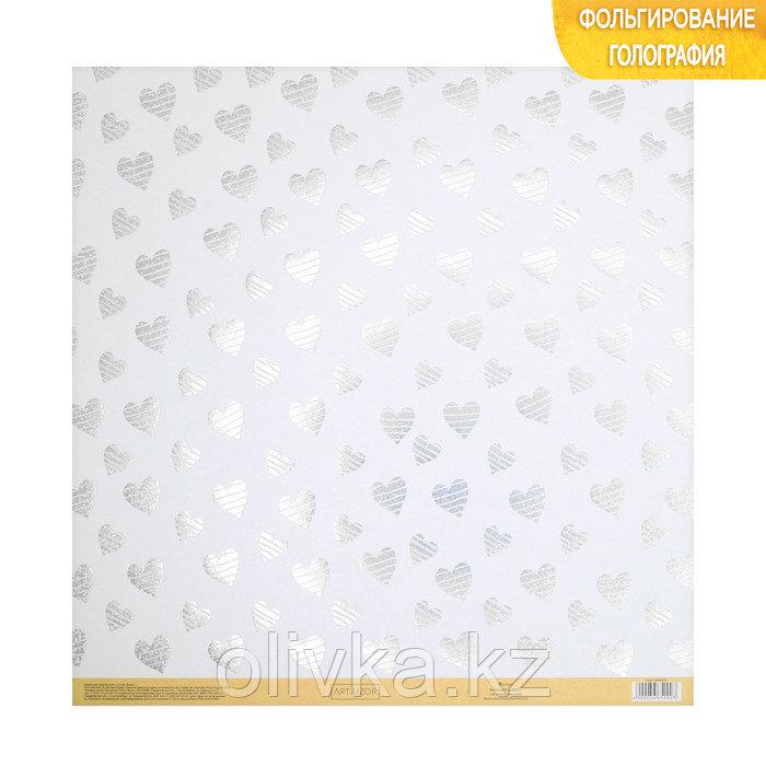 Бумага для скрапбукинга с голографическим фольгированием «Любовь», 30.5 × 32 см, 250 г/м