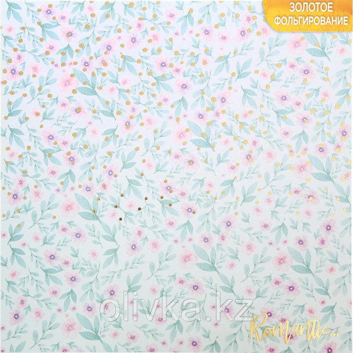 Бумага для скрапбукинга с фольгированием «Романтика», 30.5 × 30.5 см, 250 г/м