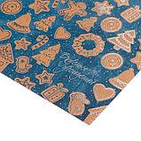 Бумага для скрапбукинга крафтовая с фольгированием «Имбирный праздник», 30,5 × 30,5см,250 г/кв. м, фото 2