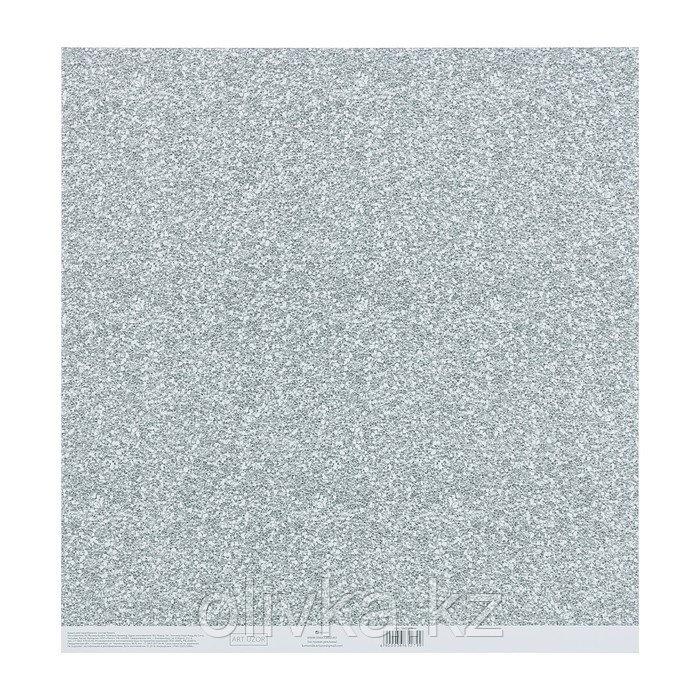 Бумага для скрапбукинга с клеевым слоем «Серебро», 30,5 × 32 см, 250 г/м