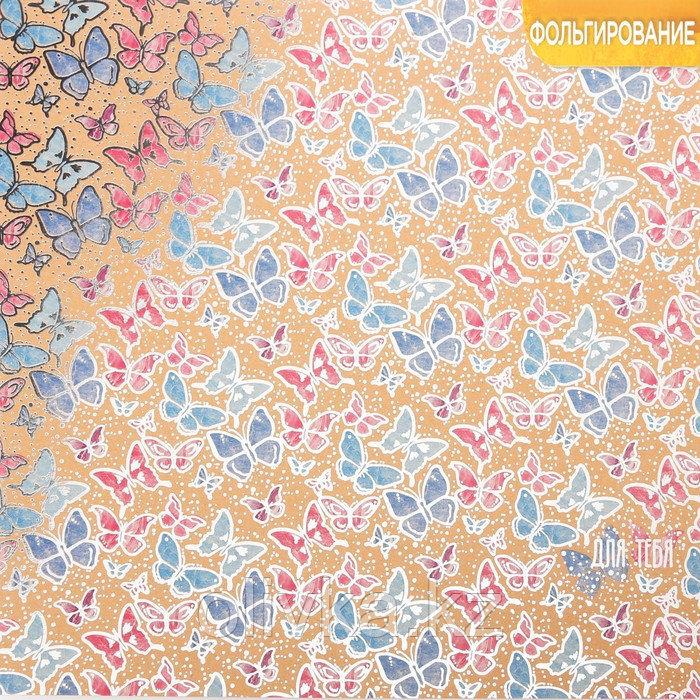 Бумага крафтовая для скрапбукинга с фольгированием «Бабочки», 30,5 х 30,5 см, 300 г/м