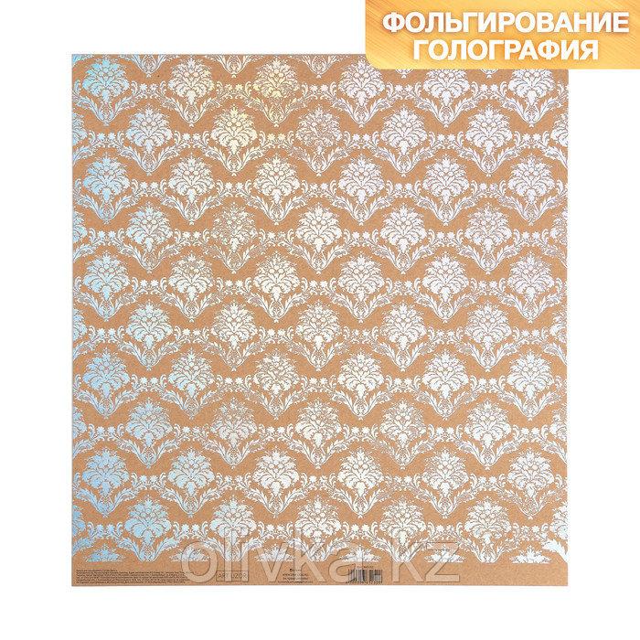 Бумага для скрапбукинга крафтовая с голографическим фольгированием «Узоры», 30.5 × 32 см