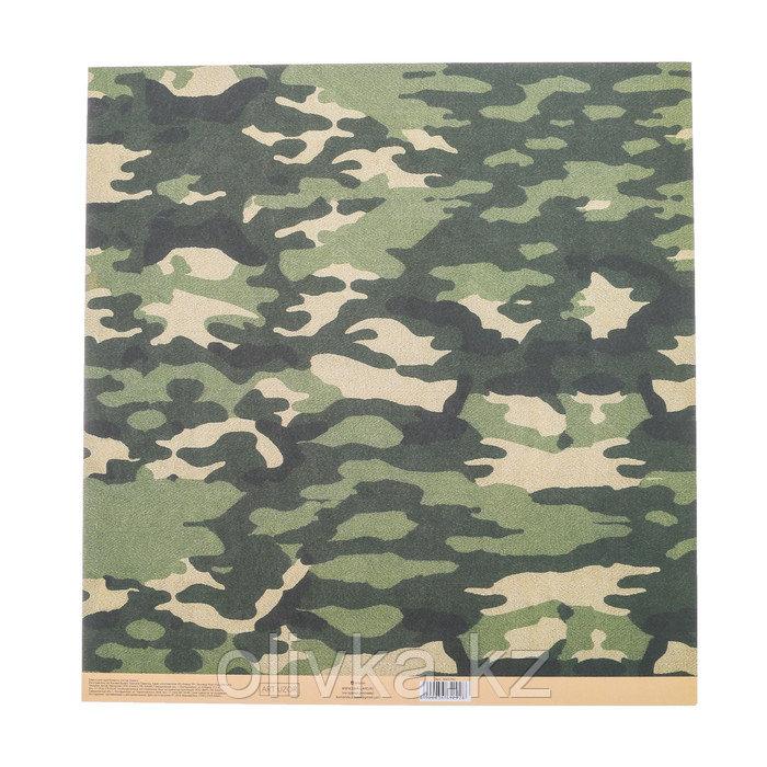 Бумага для скрапбукинга с клеевым слоем «Милитари», 30,5 × 32 см, 250 г/м