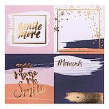 Набор бумаги для скрапбукинга с фольгированием Happy moments, 12 листов 15,5 × 15,5 см, 250г/м, фото 3