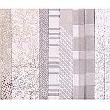 Набор бумаги для скрапбукинга с фольгированием Gold flowers, 12 листов 15,5 × 15,5 см, 250г/м, фото 3