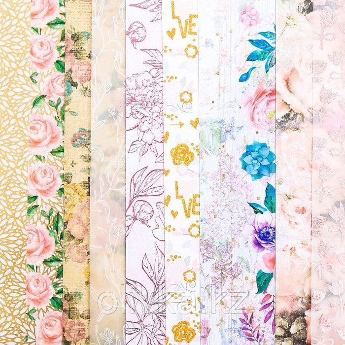 Набор бумаги для скрапбукинга «Цветочные мотивы», 10 листов, 30.5 × 30.5 см