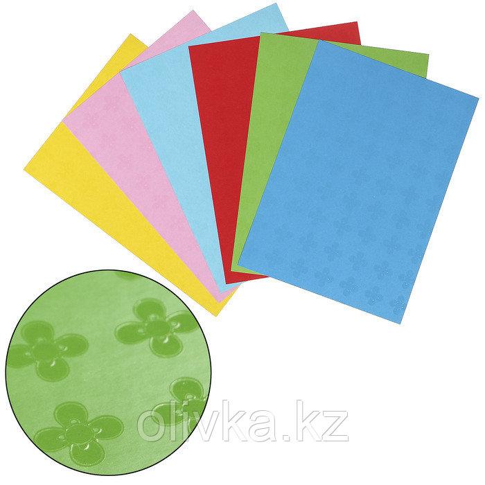 "Цветной картон А4, глянцевый узор ""Цветочки"", (набор 6 шт)  200х290 мм"