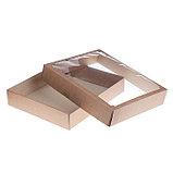 Коробка сборная без печати крышка-дно бурая с окном 37 х 32 х 7 см, фото 2