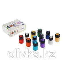 Краска по ткани, набор 12 цветов х 20 мл, Decola (акриловая на водной основе)