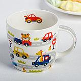 Набор детской посуды «Гонщик»: кружка 250 мл, тарелка Ø 17 см, полотенце 15 × 15 см, фото 3