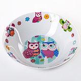 Набор детской посуды «Совушки», 3 предмета: кружка 230 мл, миска 400 мл, тарелка 18 см, фото 6