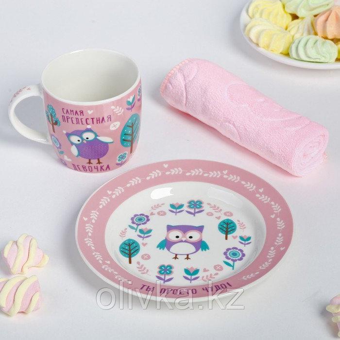 Набор детской посуды «Самая прелестная»: кружка 250 мл, тарелка Ø 17 см, полотенце 15 × 15 см