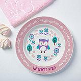 Набор детской посуды «Самая прелестная»: кружка 250 мл, тарелка Ø 17 см, полотенце 15 × 15 см, фото 2
