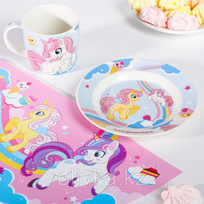 Набор детской посуды «Сладкоежка»: кружка 250 мл, тарелка Ø 17.5 см, салфетка 35 × 22 см