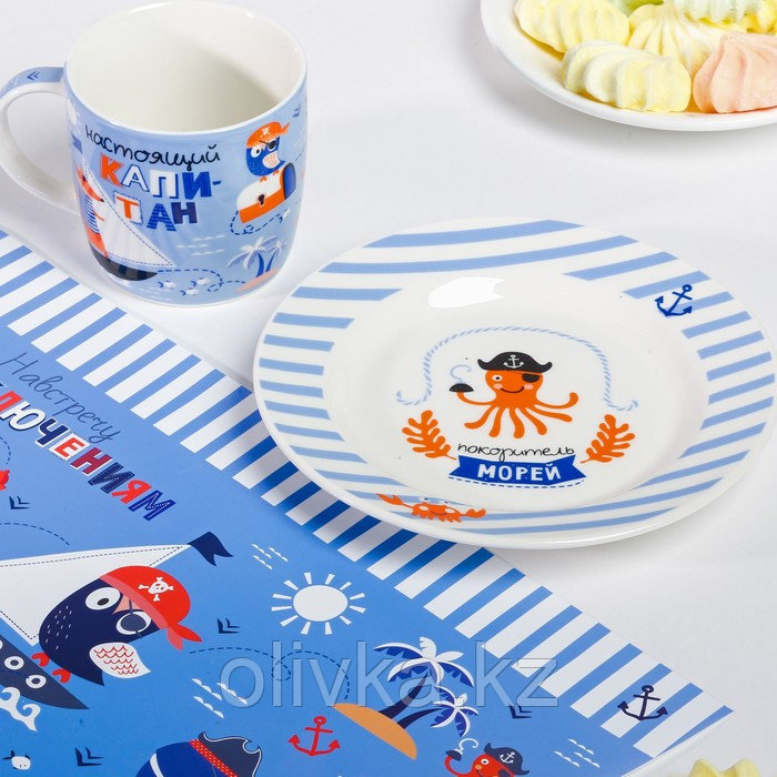 Набор детской посуды «Пираты»: кружка 250 мл, тарелка Ø 17.5 см, салфетка 35 × 22 см