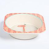 """Набор бамбуковой посуды """"Жираф"""", тарелка, миска, стакан, приборы, 5 предметов, фото 5"""
