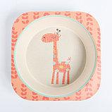 """Набор бамбуковой посуды """"Жираф"""", тарелка, миска, стакан, приборы, 5 предметов, фото 6"""