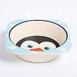 """Набор бамбуковой посуды """"Пингвинчик"""", тарелка, миска, стакан, приборы, 5 предметов, фото 5"""
