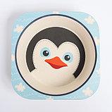 """Набор бамбуковой посуды """"Пингвинчик"""", тарелка, миска, стакан, приборы, 5 предметов, фото 6"""