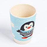 """Набор бамбуковой посуды """"Пингвинчик"""", тарелка, миска, стакан, приборы, 5 предметов, фото 7"""