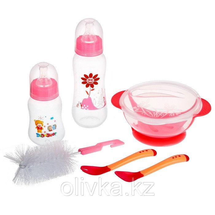 Набор детской посуды, подарочный, для девочки, 6 предметов: тарелка на присоске, столовые приборы, бутылочки
