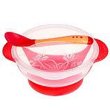 Набор детской посуды, подарочный, для девочки, 6 предметов: тарелка на присоске, столовые приборы, бутылочки, фото 3